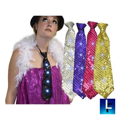 Cravate lumineuse pailleté  Accueil
