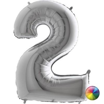 Ballon Chiffre 2 Argenté 80 cm Accueil