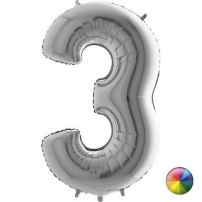 Ballon Chiffre 3 Argenté 80 cm