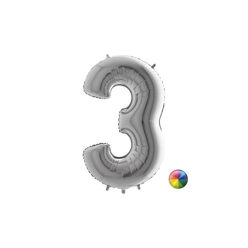 Ballon Chiffre 3 Argenté 80 cm Accueil