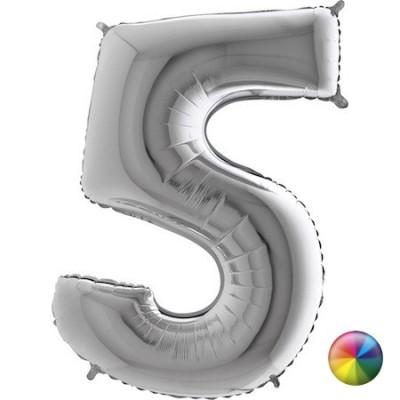 Ballon Chiffre 5 Argenté 80 cm Accueil