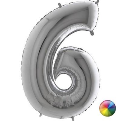 Ballon Chiffre 6 Argenté 80 cm Accueil