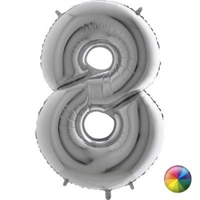 Ballon Chiffre 8 Argenté 80 cm