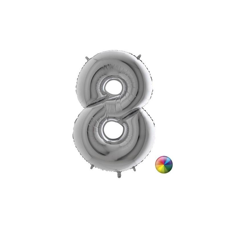 Ballon Chiffre 8 Argenté 80 cm Accueil