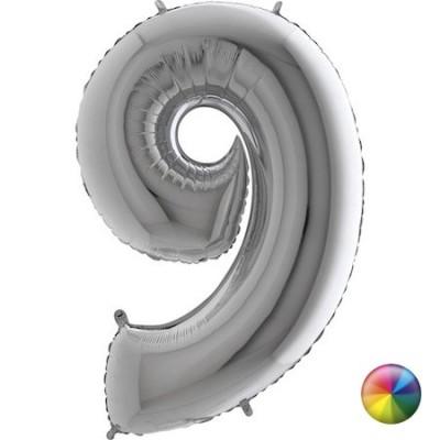 Ballon Chiffre 9 Argenté 80 cm Accueil