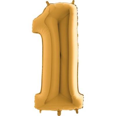 Ballon Chiffre 1 Doré 80 cm