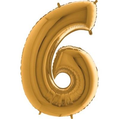 Ballon Chiffre 6  Doré 80 cm