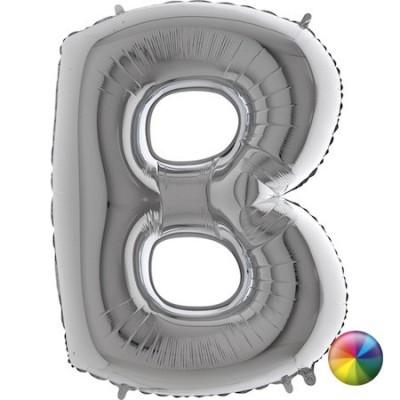 Ballon Lettre B argenté 80 cm Accueil