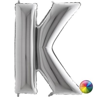 Ballon Lettre  K  argenté  80 cm