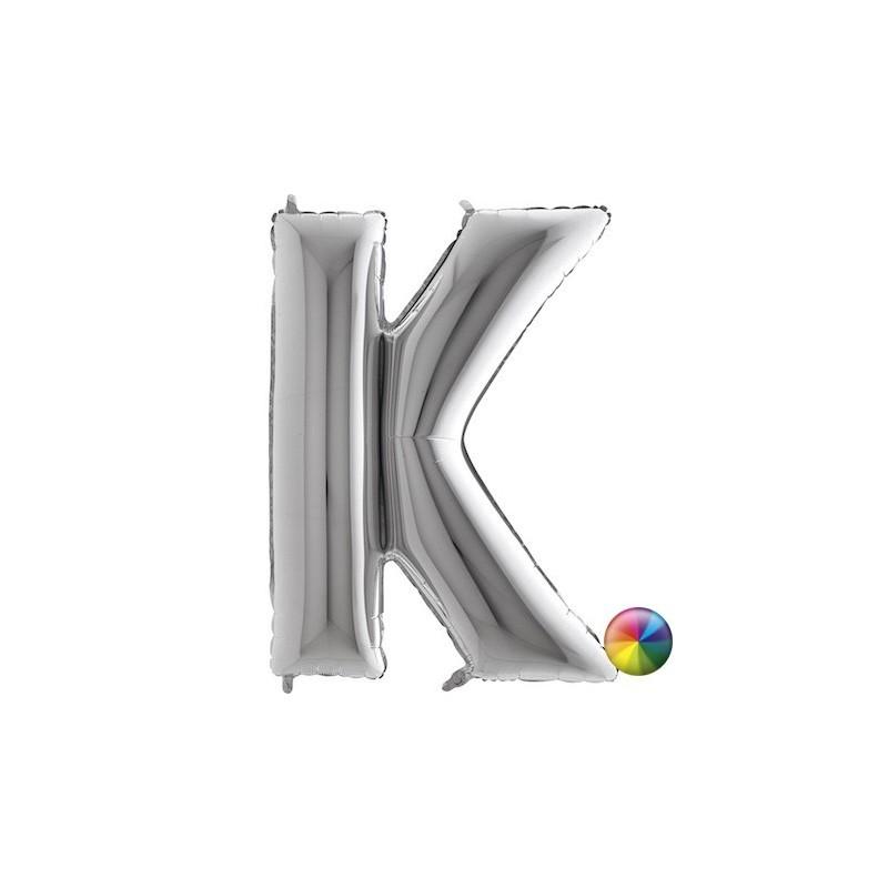 Ballon Lettre K argenté 80 cm Accueil