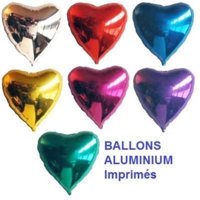 100 Ballons aluminium imprimés coeur